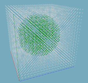 21x21x21 voxel grid of a sphere.